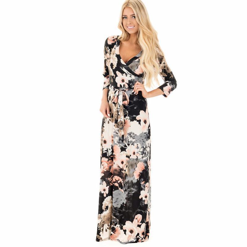23d73bb68e Summer Women Print Maxi Dress Boho Style Long Beach Dress Evening ...