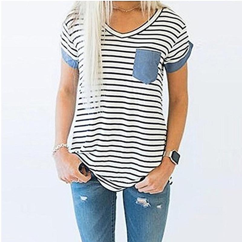 bacbfbbf046 2019 Fashion Summer Women Short Sleeve T-shirts Denim Pocket Strips  Patchwork V-neck Ladies' Top Black White Stripes Tee Shirt