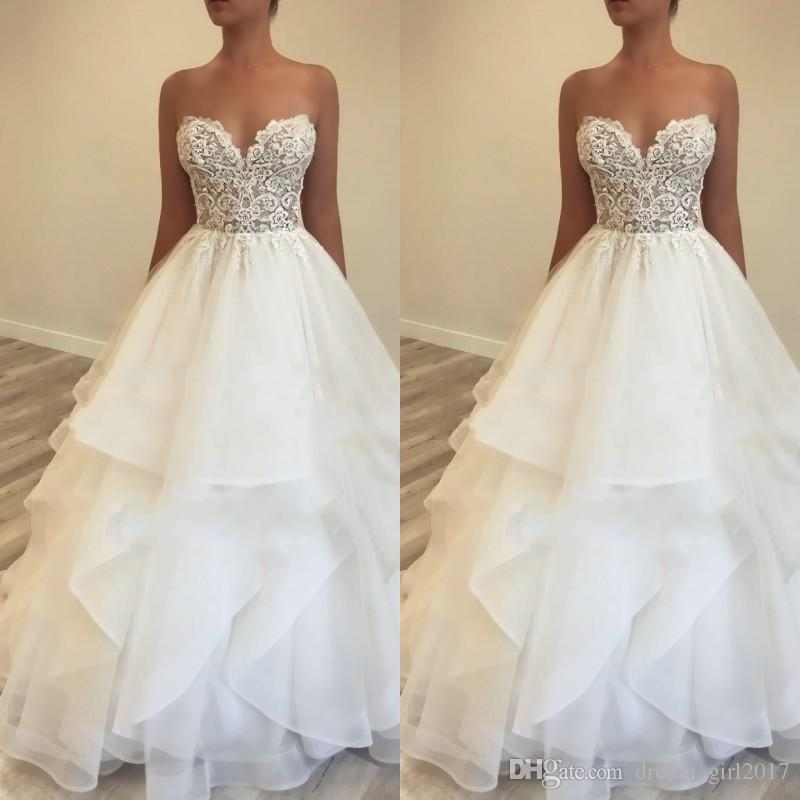 2019 Simple Style Sweetheart Wedding Dresses A Line Lace Appliques Details Tiered Skirts Tulle Garden Cheap Bridal Gown Custom Made