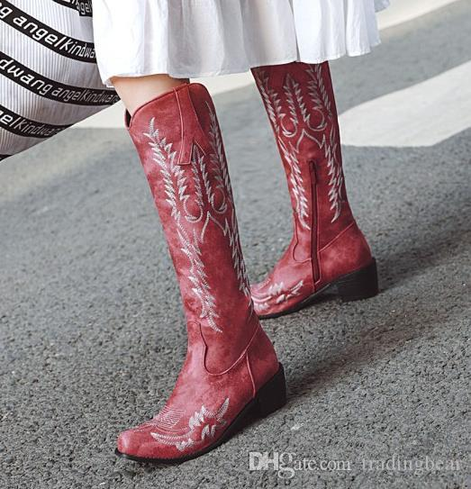 Moda diz yüksek çizmeler 42 ila 48 kadar inek kız etnik nakış kovboy lüks tasarımcı kadın botları kış düşük topuk küçük büyük boy 32