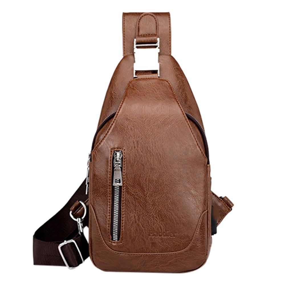 a215b27849eb Men S Pu Leather Chest Bag Waist Pack Male Business Shoulder Messenger Bag  Soft Leather Waterproof Casual Chest Bags Mens Leather Bags Laptop Messenger  Bags ...