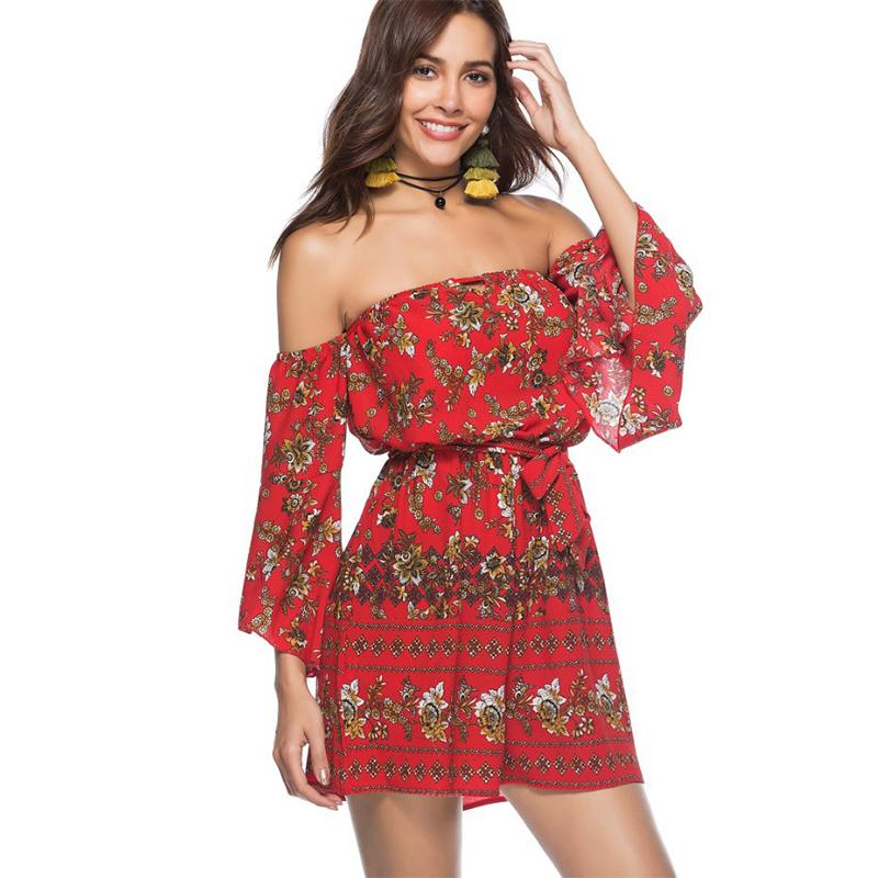 c0a3fab507b3 2019 Sexy Off The Shoulder Rompers Womens Jumpsuit Vintage Floral Print  Bell Sleeves Boho Casual Beach Playsuit Elegant Summer Romper From  Jincaile02