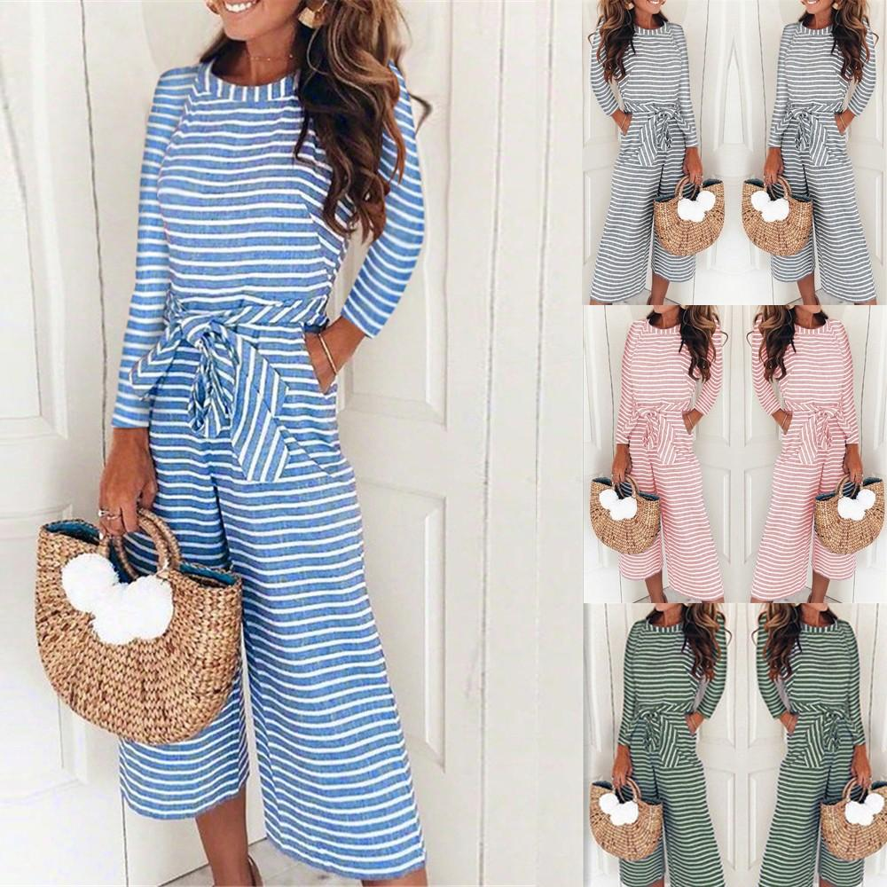 0454f648ae1 2019 Women Made Of High Quality Materials Long Sleeve Stripe Jumpsuits  Beautiful Lady Loose Playsuit Long Wide Leg Trousers From Cfendou