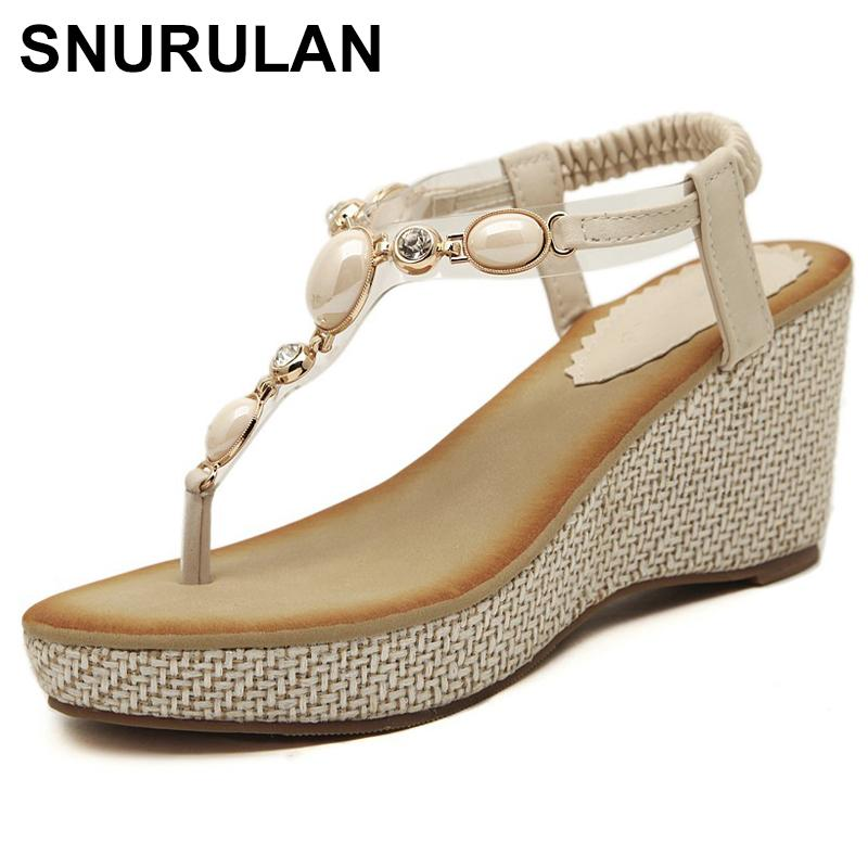 723faceba2abc SNURULANSummer New Women Fashion Sandals Sweet Slope With Comfortable Wild  Sandals Bohemian Diamond Cliptoe Woman Shoes SizeE467 Slip On Shoes Mens  Loafers ...