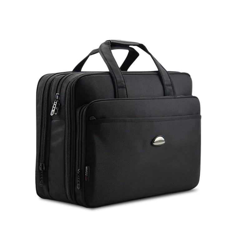 17Inch Computer Laptop Bag Multilayer Thick Nylon Cloth Briefcase Large Capacity Business Portable Shoulder Messenger Bag
