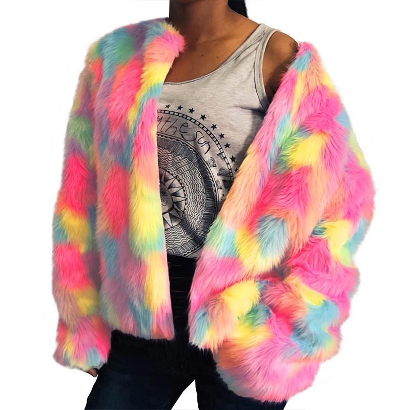 1b027a0368 2019 Women Faux Fur Jacket Multicolor Color Block Long Sleeve Fourrure  Femme Fluffy Hairy Warm Fake Fur Coat Winter Slim Outerwear From  Shoppingparty, ...