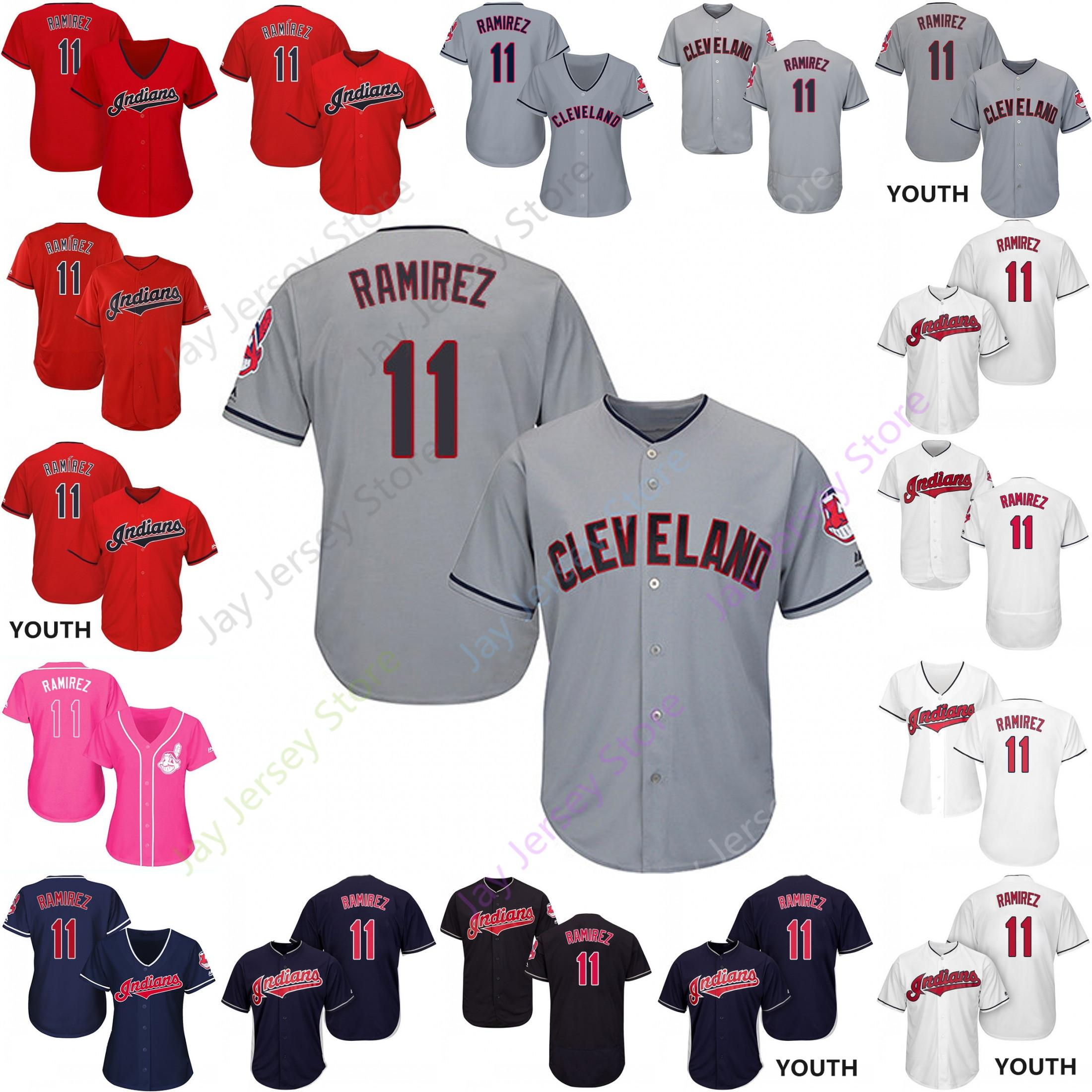 the best attitude ebea7 bb155 Custom Cleveland 11 Jose Ramirez Jersey Indians Jerseys Cooperstown Cool  Base Flexbase White Black Red Grey Home Away Men Women Youth Cheap