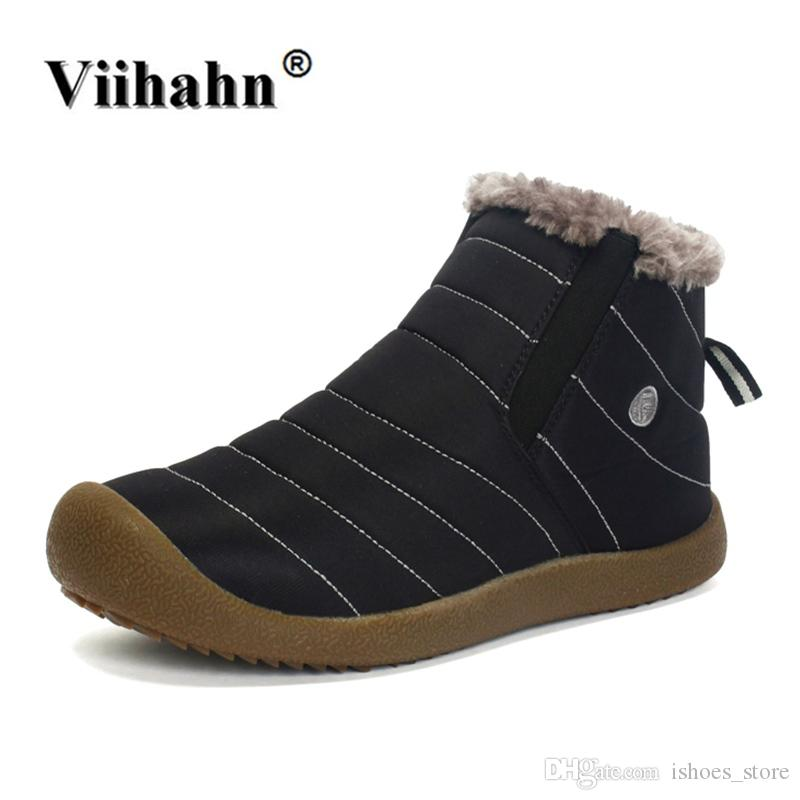 16523d1091 Viihahn Mens Shoes Winter Snow Boots Plush Inside Antiskid Bottom ...
