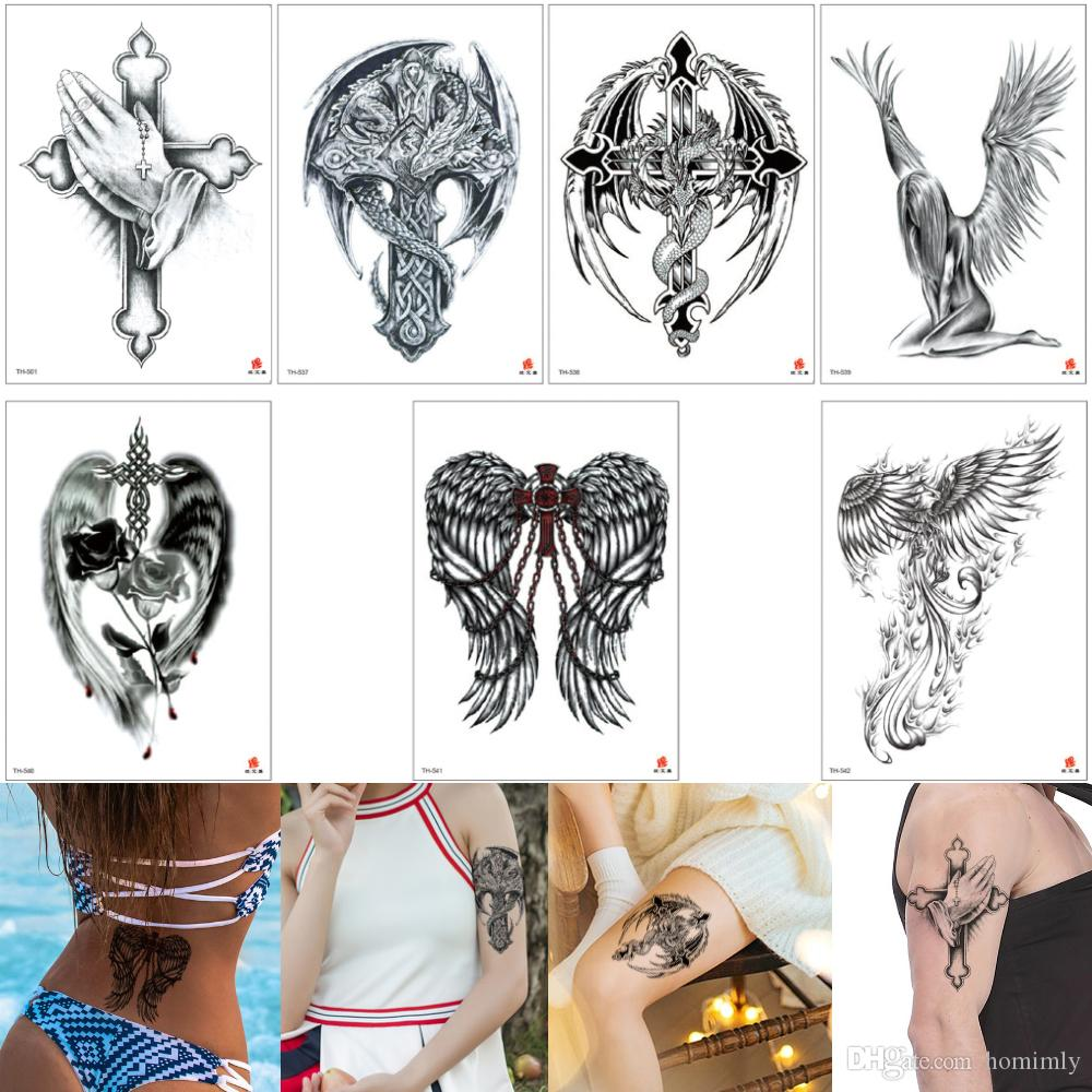 178bc6194 Fake Black Cross Tattoo Wing Rose Flower Phoenix Decal Designs Sexy  Temporary Tattoo Girl Body Art Sticker Boy For Arm Back Chest Waterproof  Temporary Star ...