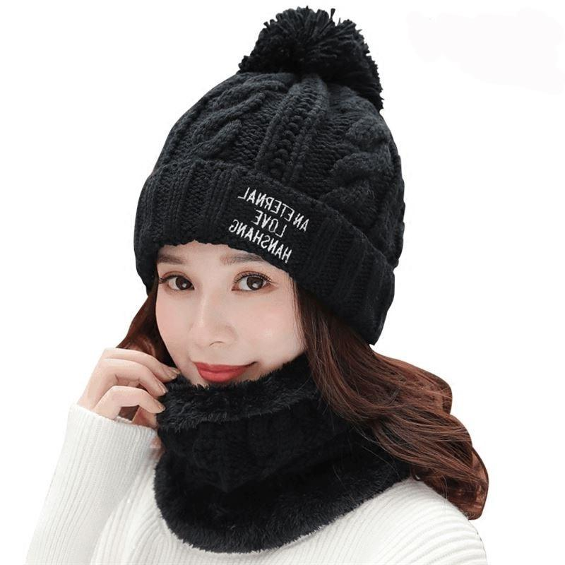 a1a45b5e4bf Girl Ski Skullies Beanies Winter Hats For Women Knitting Hat Pompoms Ball  Warm Brand Casual Gorros Thick Female Cap Hat Scarf 2p Winter Hats Beanie  Hats ...