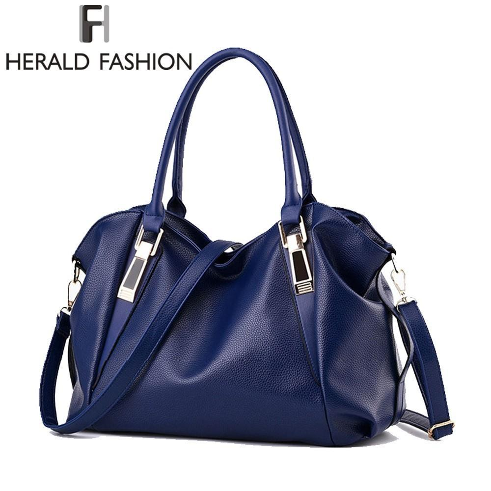 Herald Fashion Designer Women Handbag Female Pu Leather Bags Handbags Ladies Portable Shoulder Bag Office Ladies Hobos Bag Totes J190721