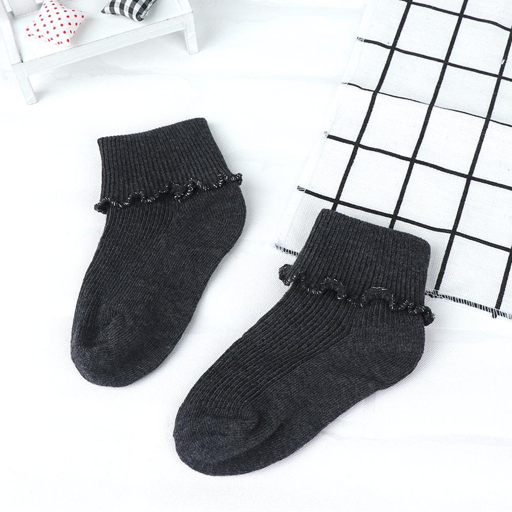86d2352f Calcetines de algodón de princesa para niños 4 pares / juego Calcetines  cortos de encaje de algodón puro de moda Niñas bebés Tamaño único Color ...