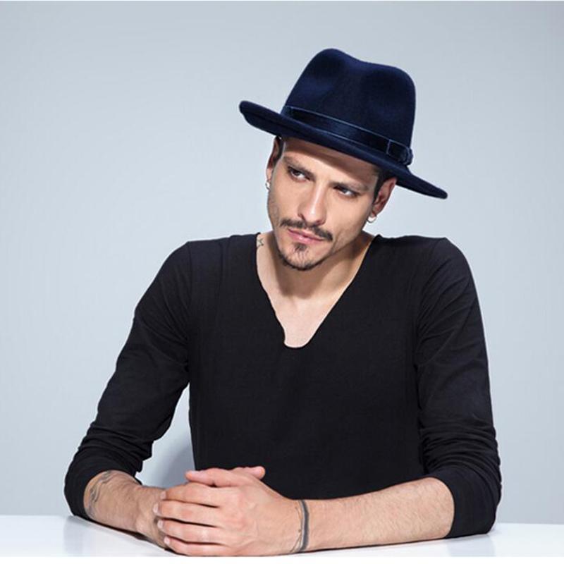 5b2594492b732 VTG Brand Wool Men s Black Dad Fedora Hat For Gentleman Woolen Wide ...