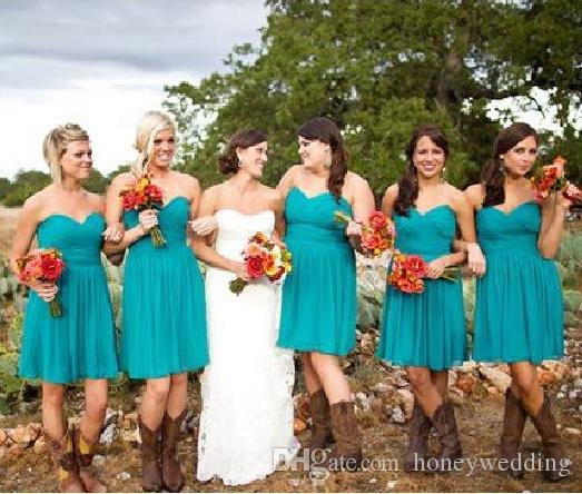 2019 Short Country Beach Bridesmaids Dresses Sweetheart Pleats ...