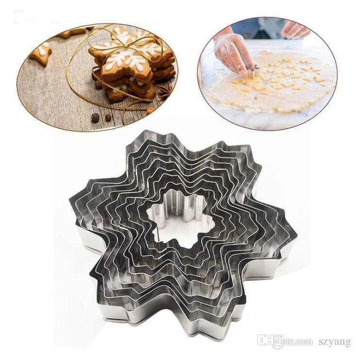 Snow flake Cookie Cutter Stainless Steel Baking Mold DIY Cookie Mould Fondant Biscuit XMAS Baking Decorating Tool 9Ppcs set SN2249