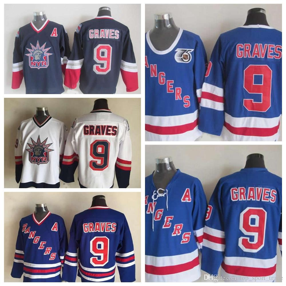 2019 1998 Liberty Vintage  9 Adam Graves Jerseys Mens 1991 75th 9 New York  Rangers Adam Graves Hockey Jersey Best Quality Stitched A Patch From ... 74744aa8f