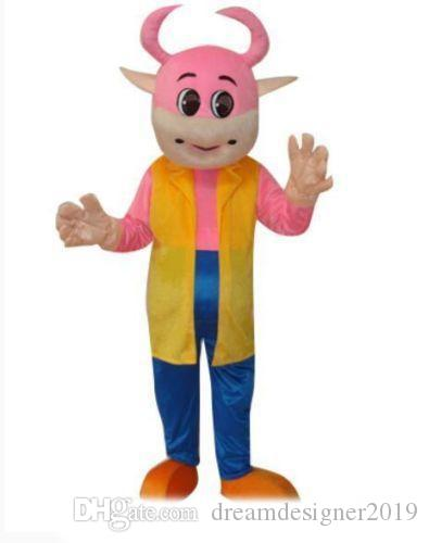 newHigh quality hot Pink cute cow in suit cartoon mascot costume adult size free shipping