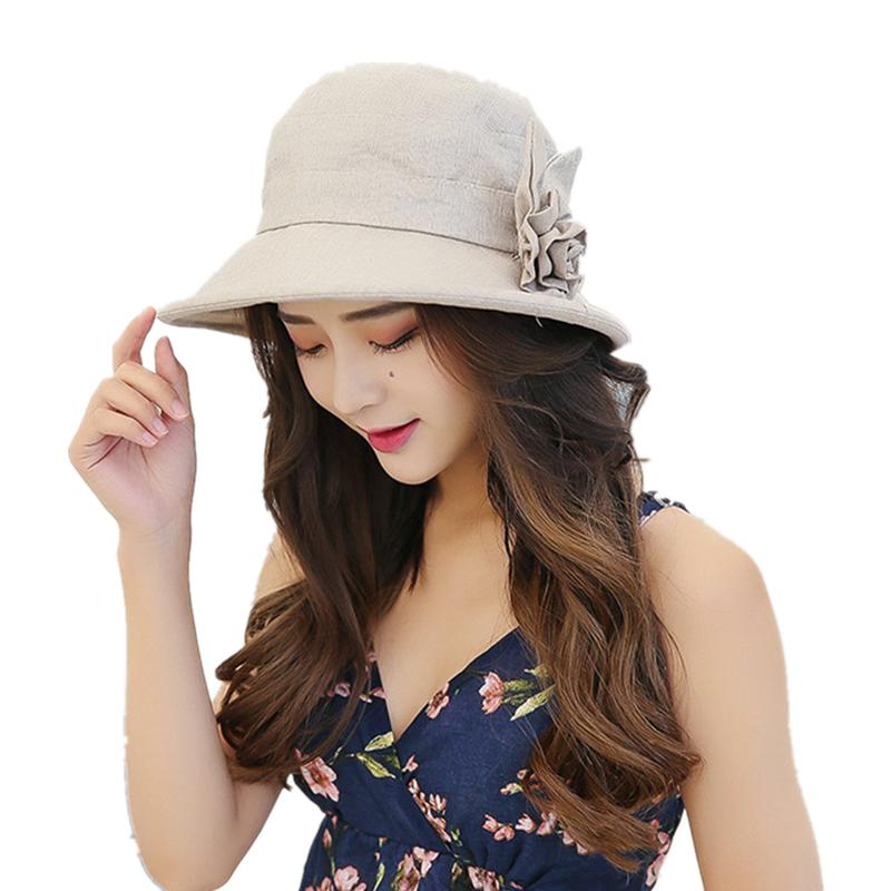 Women Korean Flower Bucket Hat Cotton Linen Sun Caps Visor Summer ... 1973aba6b356