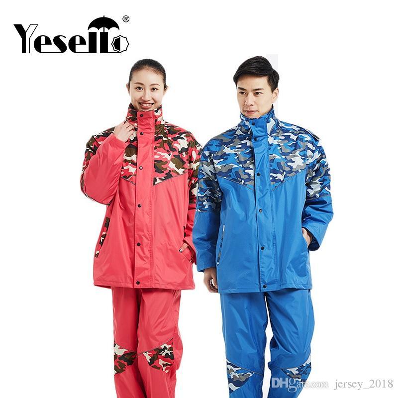 fd7be014d56af Yesello Camouflage Raincoat Set Impermeable Rain Jacket Poncho Extra ...