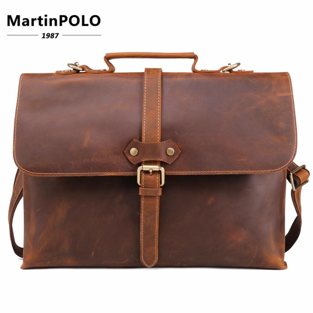 0b99d9061e67 Brand Crazy Horse Genuine Leather Men Briefcase Messenger Laptop Bag  Business Bags Shoulder Bag Crossbody Messenger Handbag
