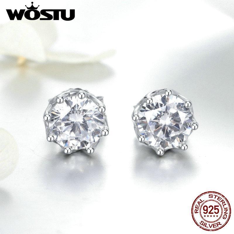 WOSTU Reale 100% 925 orecchini in argento sterling luce frizzante le donne fidanzamento fidanzamento moda gioielli freschi regalo CQE499