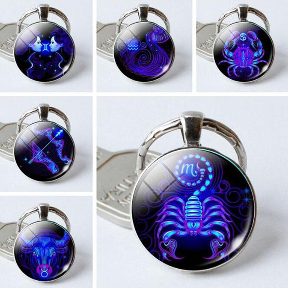New Zodiac Sign Keychain For Girl Key Ring Leo Scorpio Constellation
