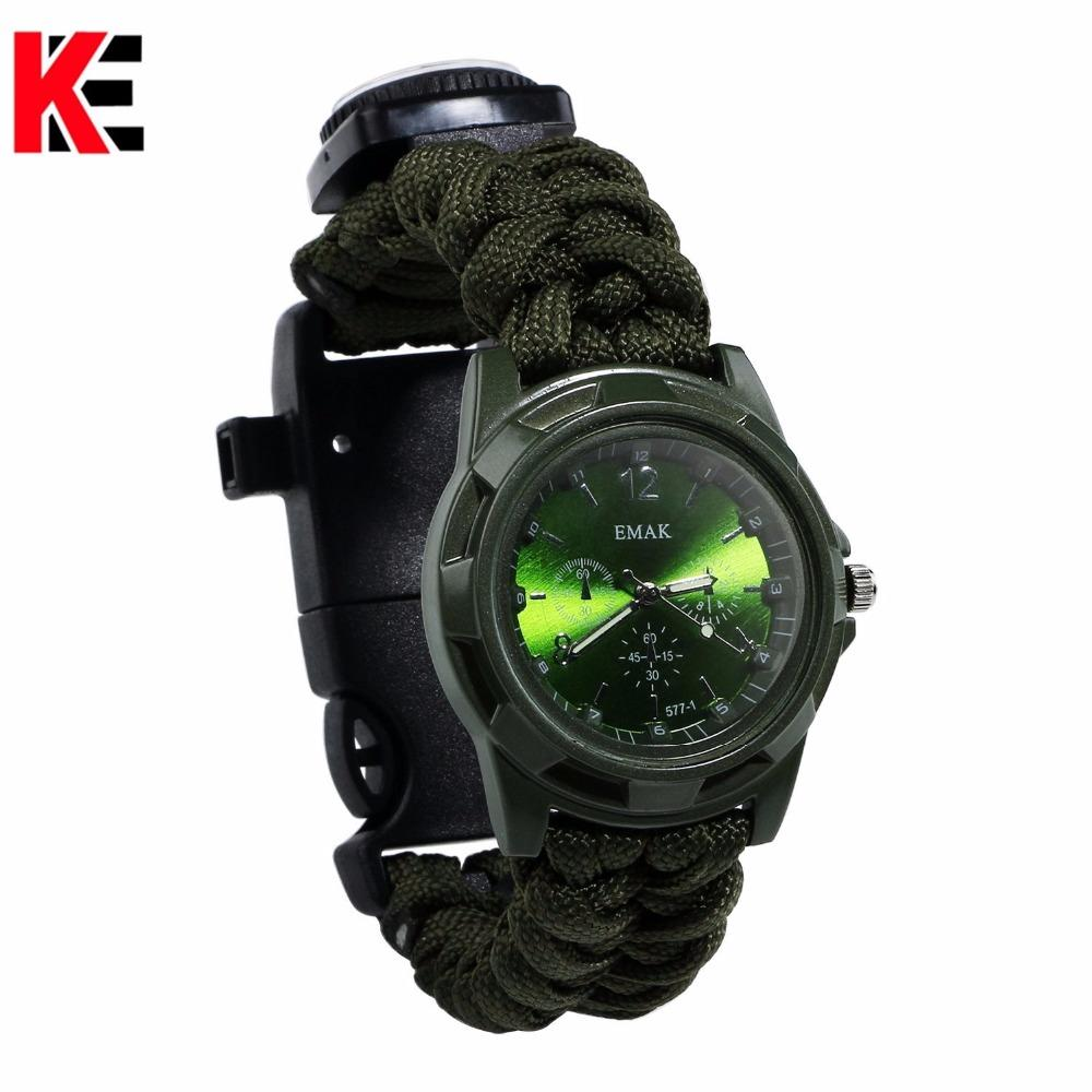 Outdoor Camping Multi Tool watch survival watch Compass Thermometer Rescue Rope Paracord Bracelet Equipment Tools kits Parachute (12)
