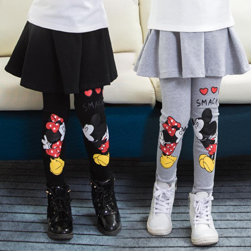 Menina legging bonito saia-calças dos desenhos animados do inverno da menina saia bolo do bebê quentes leggings Infantil meninas saia bootcut pant Para 2-7T