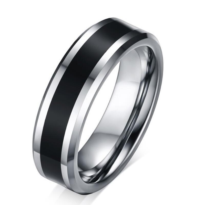 d216d89ebd ZHF Jewelry 6MM Wide Men\'s Tungsten Wedding Band Ring Black Carbon Fiber  Inlay Beveled Edges Bague anel Jewelry