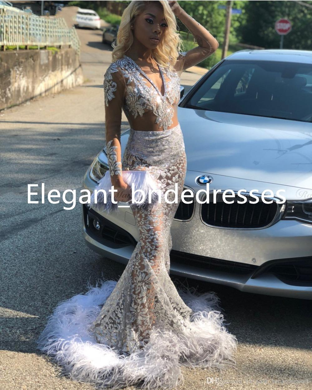 2019 Glitter Silver Sequin Mermaid Black Girls Prom Dresses with Feathers Train Long Sleeves Open Back African Graduation Party Dress