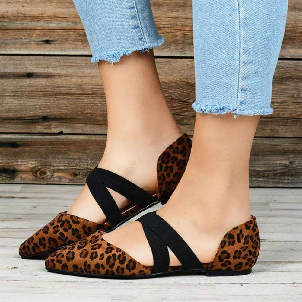 New Fashion Women's Flat Single Shoes PU Leather Leopard Casual Flat Shoes With Elastic band Summer Women Pointed 2019