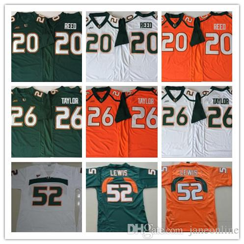 huge discount 6d8ff 82f5b 2019 NCAA Miami Hurricanes College Football Jerseys 20 Ed Reed 52 Ray Lewis  Jersey Sean Taylor University S-3XL