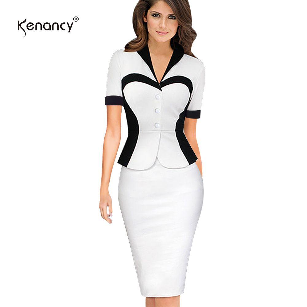 902aa68dc9f5 Kenancy 3xl Plus Size Faux Twinset Vestido Mujeres Color Block Manga Corta  Longitud de Rodilla Lápiz Vestido de Oficina Vestidos Delgado Y19051001