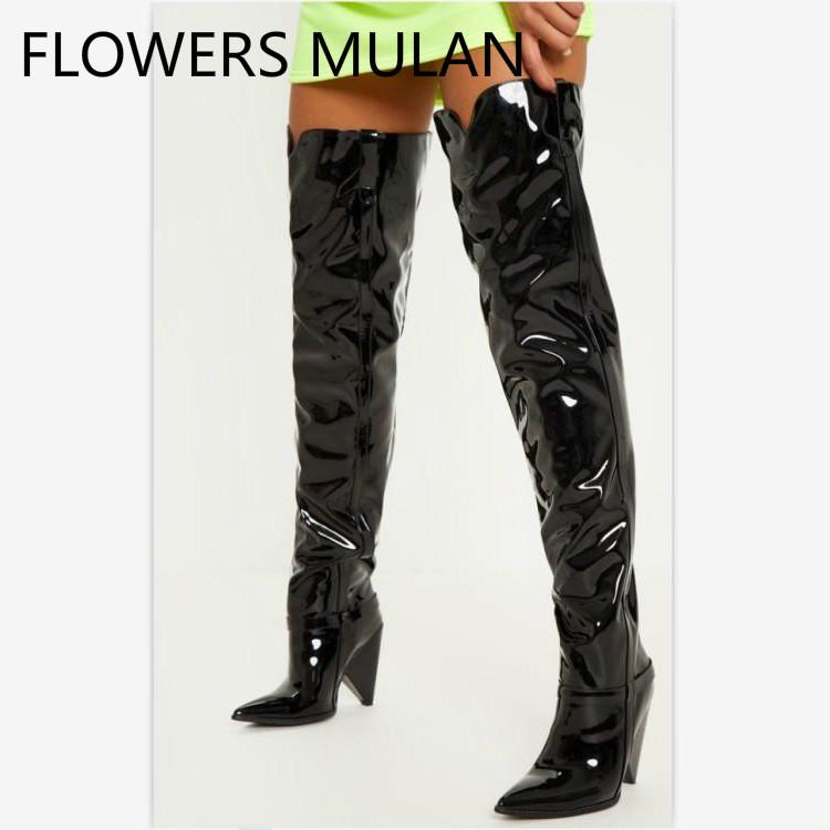 0de5f8aff7e8 Shiny Black Patent Leather Winter Boots Women Thigh High Chic Pointed Toe  Slip On Ladies Booties Sewing Upper Spike Heel Zapatos Knee High Boots  Riding ...