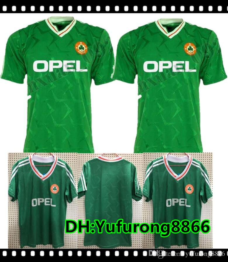 4a5c39091d46 2019 1990 Ireland Retro Soccer Jersey 1990 World Cup Ireland Home Green  Soccer Shirt National Team Customized Football Uniforms Sales From  Yufurong8866