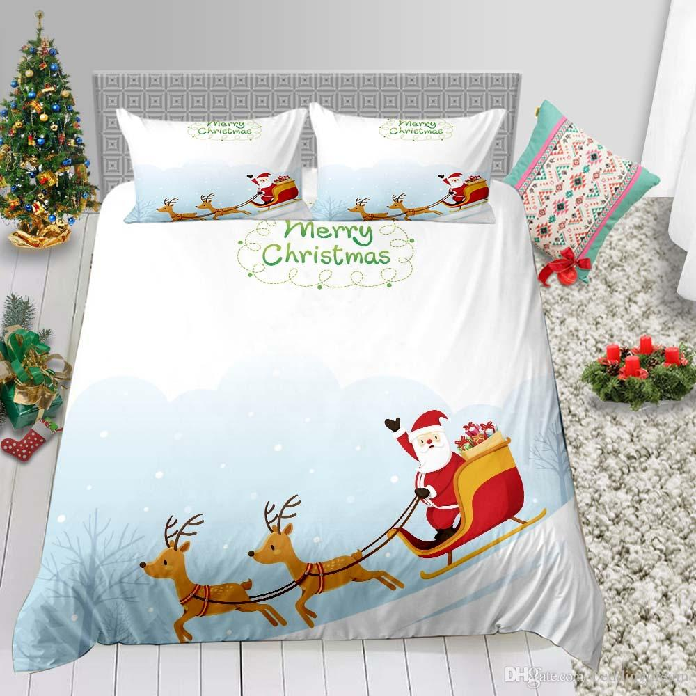 High End Bedding Set Queen Size Christmas Duvet Cover 3D Queen Santa Print Full Twin Single Double Bed Cover with Pillowcase 3pcs
