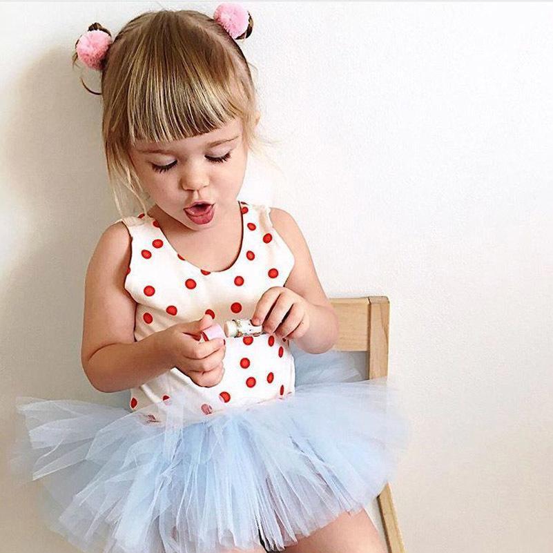 9c00e588ec9c Satın Al Bebek Kızlar Romper Tutu Elbiseler 2019 Yaz Çiçek Ruffles Dot Dantel  Tulum Yenidoğan Kız Yay Takım Kıyafetler Çocuk Çocuk Giysileri