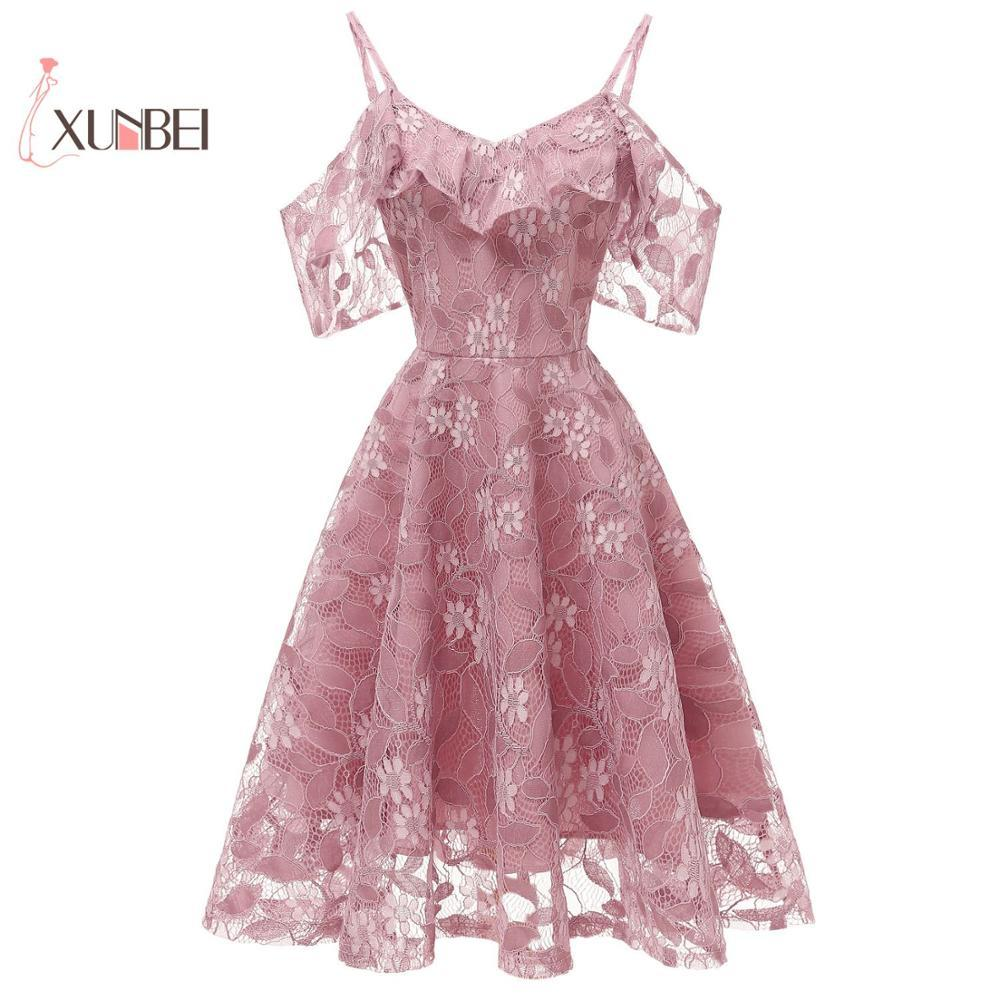 Vestido de fiesta Talla grande Dusty Pink Short Lace Bridemaid Vestidos 2019 Off The Shoulder Vestidos de baile Invitado de boda