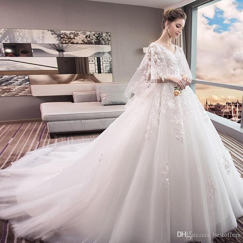78cc41d978a New Style Custom Made Wedding Dresses 3 4 Long Sleeves With Appliques High  Quality Bridal Gown Lace Bride Wear Wedding Dresses Designer Wedding Dresses  For ...