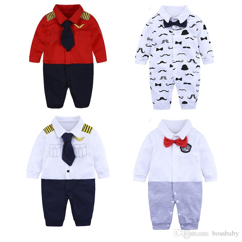 124a3d4c13917 2019 Kids Onesies Newborn Baby Boy Clothes Long Sleeve Child Rompers  Pullover Bow Tie Animal Dot Lapel 28 From Bossbaby