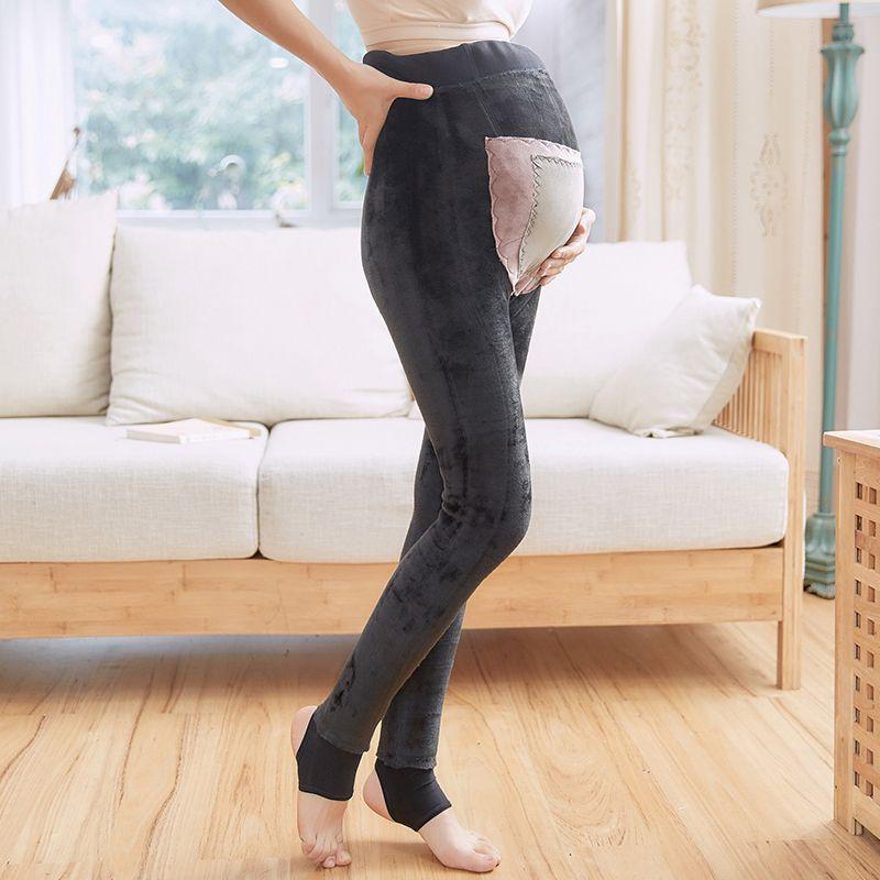 38bc1894db8d5 2019 Pregnant Women Plus Velvet Leggings Female Autumn And Winter Wear Anti  Radiation Warm Feet Pants Wear Maternity Pants From Friendhi, $53.45    DHgate.