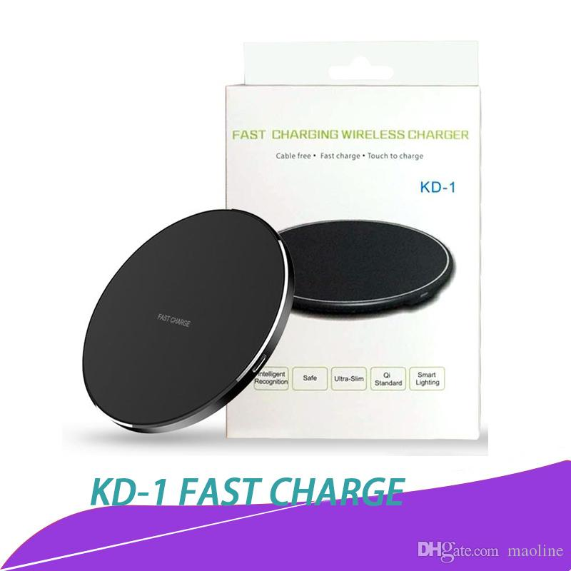 KD-1 Wireless Charger Qi Fast Charger Power Charging LED Light for iPhone 8  Plus iPhone X Samsung S8 Plus Note8 with Retail Package