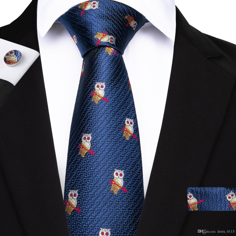 91a5a7cf7e478 Acheter Salut Cravate New Designer Marque Cravate Pour Hommes Bleu Hibou  Motif Jacquard Tissé Cravate En Soie Poche Carré Boutons De Manchette  Ensemble ...