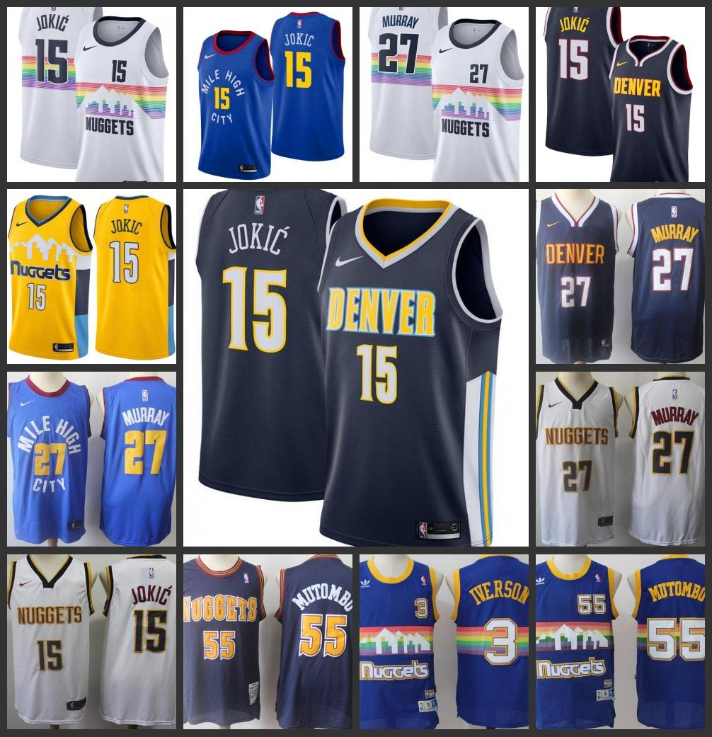 reputable site abe19 0c186 18-19 Season New Styles Denver Mens Nuggets Jersey Jamal Murray Nikola  Jokic Dikembe Mutombo Allen Iverson City Jerseys Edition
