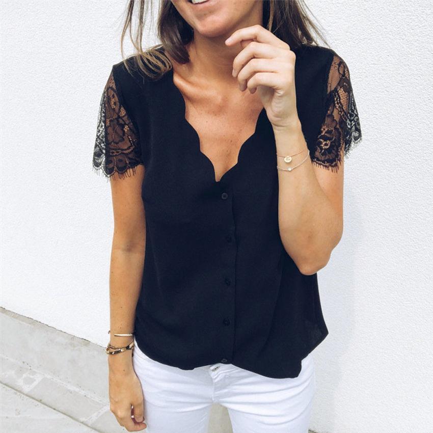 d1e2163b08c133 2019 Women V Neck Lace Short Sleeve Shirt Blouse Top Women Summer Blouse  From Jiuwocute, $39.35 | DHgate.Com