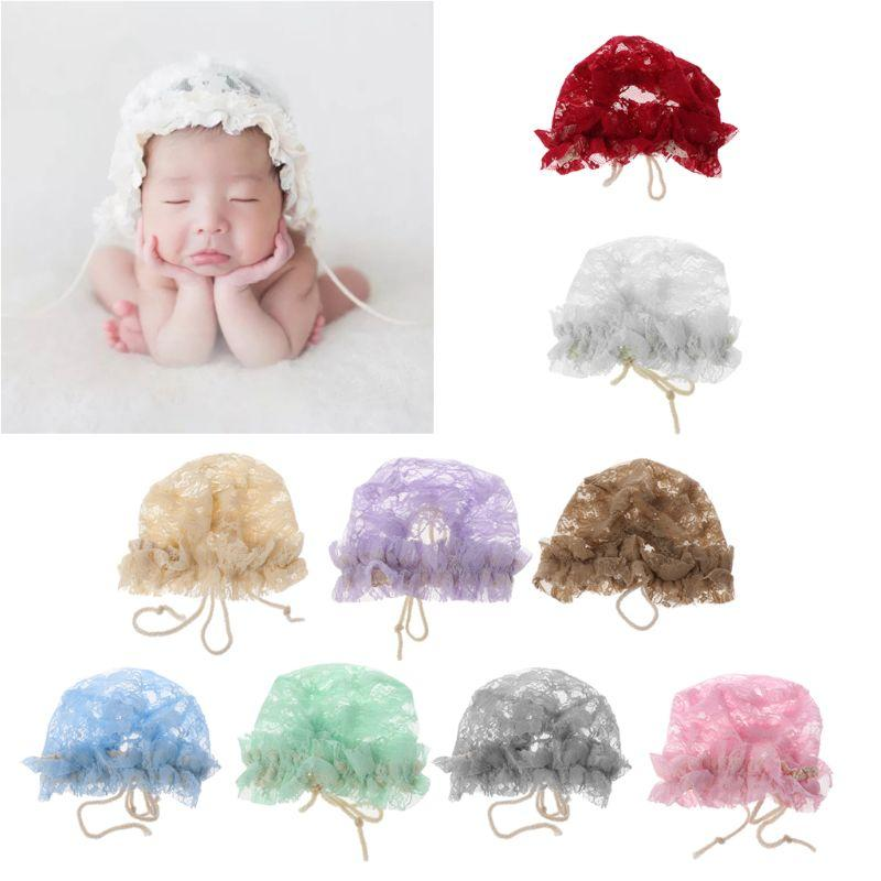 Spring Cap Newborn Baby Summer Cappello dolce Principessa Lace Infant Girl Beanie Ruffles Lace-up Baby Photo Puntelli Accessori Bonnet
