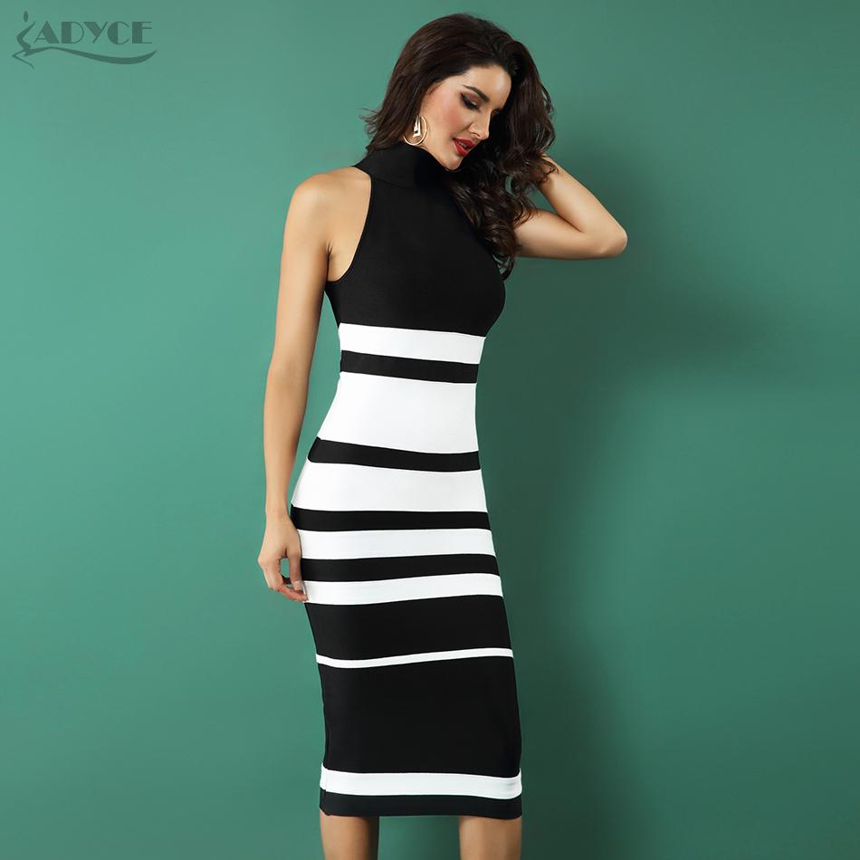 ad469ed487a Adyce 2019 New Elegant Bandage Dress Women Fashion Nude And White Striped Bodycon  Midi Dress Vestidos Night Club Party Dresses Q190417 Dressing Styles For ...