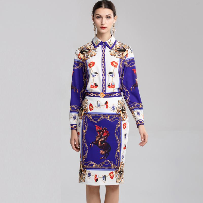 a1a5363936ed9 2018 Ladies' Runway Twinsets Turn Down Collar Long Sleeves Printed Shirts  with Vintage Pencil Skirts Elegant Two Piece Dresses Sets