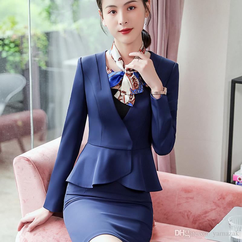 4b3bd24cf54c Compre Mujeres Japonesas De Primavera Blazers Para Ropa De Oficina Con Traje  De Falda Traje De Negocios Elegante Traje De Sastre De Mujer De 2 Piezas A  ...