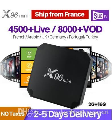 X96 mini Smart France IPTV Box Android 7.1 2GB 16GB S905W 4K H.265 X96mini Set Top Box 1 anno SUBTV Arabo Belgio Francese IPTV